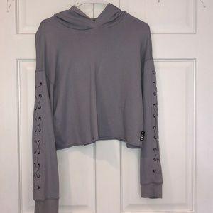 Victoria's Secret PINK blue crop top hoodie- Med